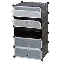 Шкаф органайзер пластиковый Storage Cube Cabinet «А1-5» 37x37x90 см. Черный, фото 1