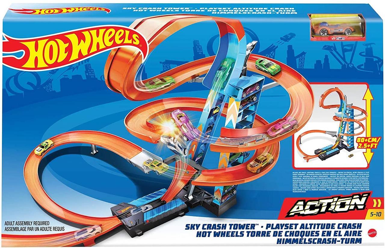 Трек Хот Вилс Небоскреб Падение с Башни Оригинал Hot Wheels Sky Crash Tower Track Set, 2.5+ ft / 83 cm (GWT39)