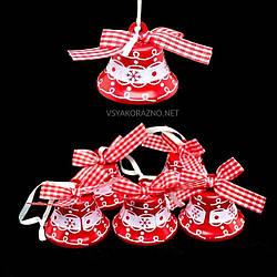 Набор колокольчиков на елку (6шт) красный