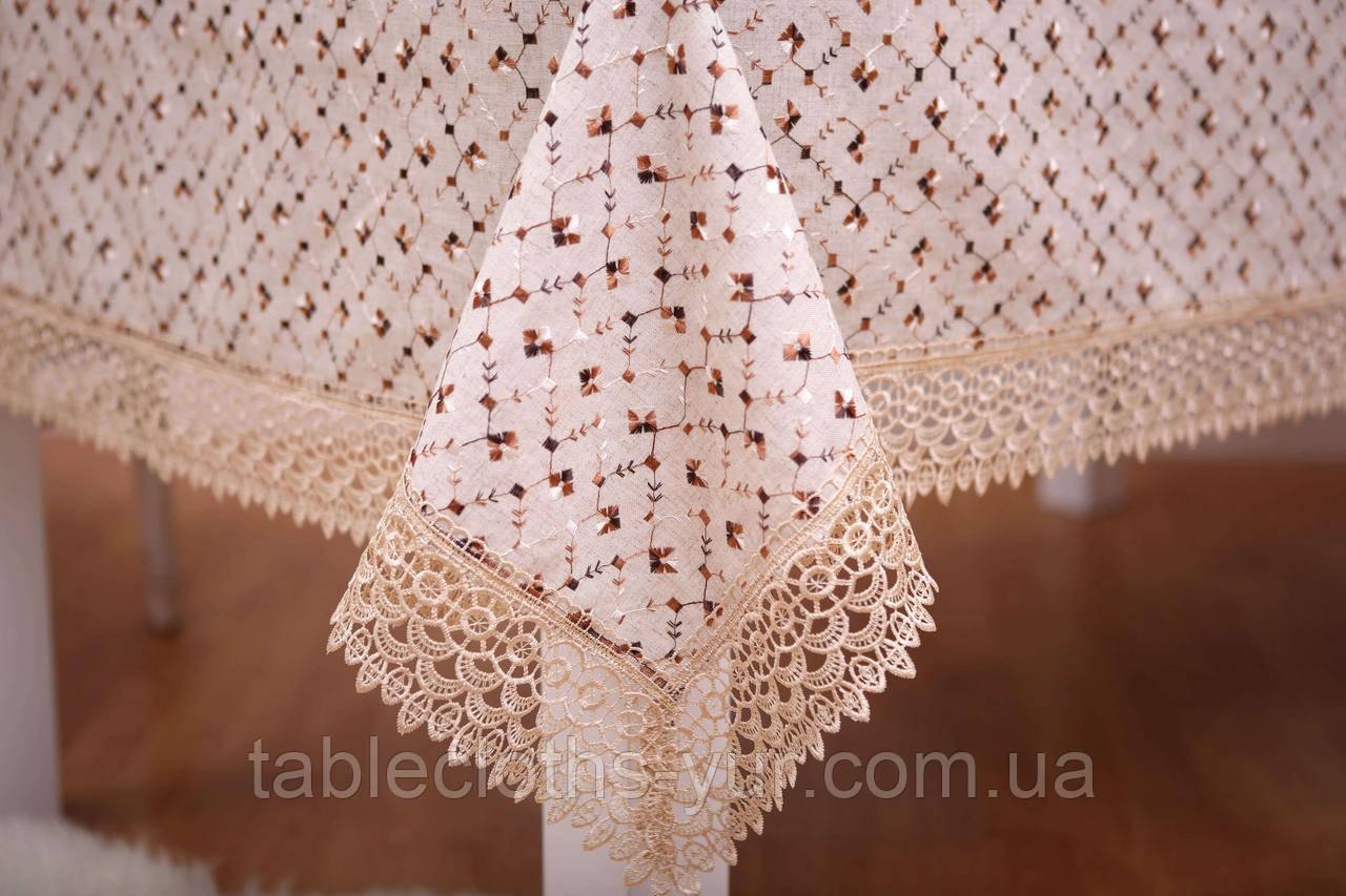 Скатерть Праздничная Лен 150-220 Коричневая с бело-коричневым узором