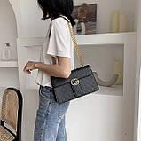 Женская большая классическая сумка кросс-боди на цепочке черная, фото 3
