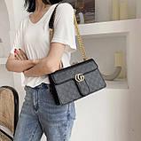 Женская большая классическая сумка кросс-боди на цепочке черная, фото 2