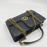 Женская большая классическая сумка кросс-боди на цепочке черная, фото 4