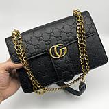 Женская большая классическая сумка кросс-боди на цепочке черная, фото 5