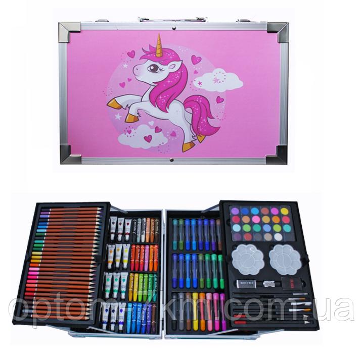 Набор для творчества рисования детский 145 предметов в чемодане Pink Horse Op