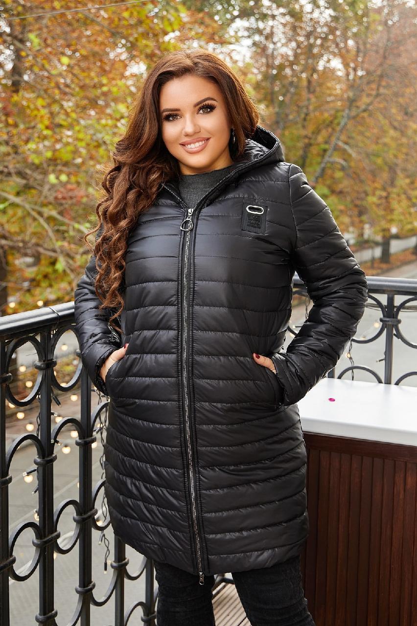 Женская теплая стеганная осенняя куртка на синтепоне, с капюшоном, батал большие размеры