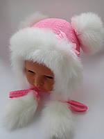 Детская зимняя шапка на девочку с помпонами, фото 1