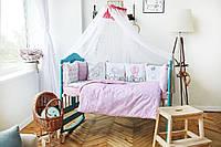 Комплект детского постельного белья с бортиками    в кроватку  с для новорожденных Слоник, фото 1