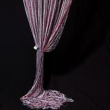 Шторы кисея с люрексов | Нитяные шторы | Готовые шторы с люрексов | Якісні штори | Бело-серо-бордовые шторы, фото 2