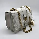 Женская классическая сумка кросс-боди на цепочке белая, фото 8