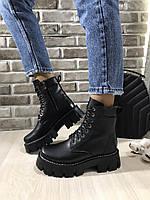 Ботинки чёрные на высокой подошве из натуральной кожи