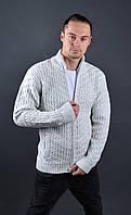 Мужской теплый свитер на замке белый   Мужская кофта на замке Vip Stendo Турция 7079