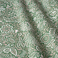Ткань для штор листва зеленая с тефлоновой пропиткой Турция