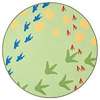 IKEA JATTELIK Безворсовый детский ковер, следы динозавров/зеленые (804.641.71)