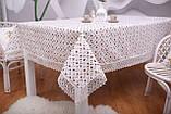 Скатертина Льон Святкова 150-220 Біла з коричнево-білими візерунками, фото 4
