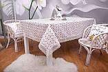 Скатерть Праздничная Лен 150-220 Белая с коричнево-белым узором, фото 2