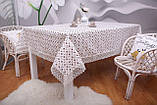 Скатерть Праздничная Лен 150-220 Белая с коричнево-белым узором, фото 3