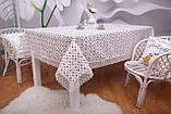 Скатертина Льон Святкова 150-220 Біла з коричнево-білими візерунками, фото 3