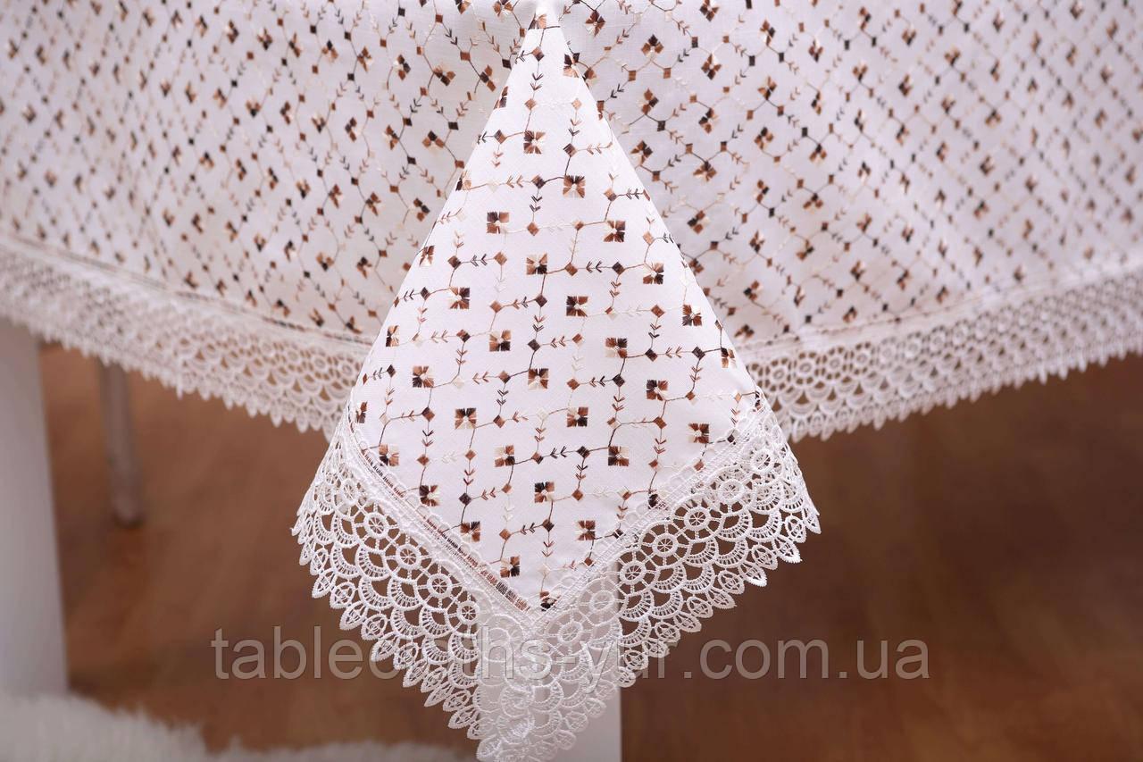 Скатерть Праздничная Лен 150-220 Белая с коричнево-белым узором