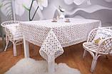 Скатертина Льон Святкова 150-220 Біла з коричнево-білими візерунками, фото 5