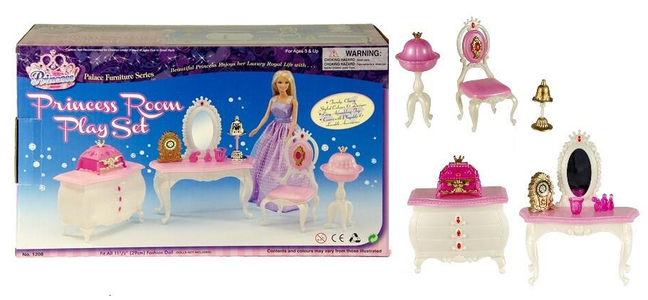 Іграшковий набір меблів Gloria Кімната принцеси 1208 з трюмо, комодом, стільчиком і аксесуарами