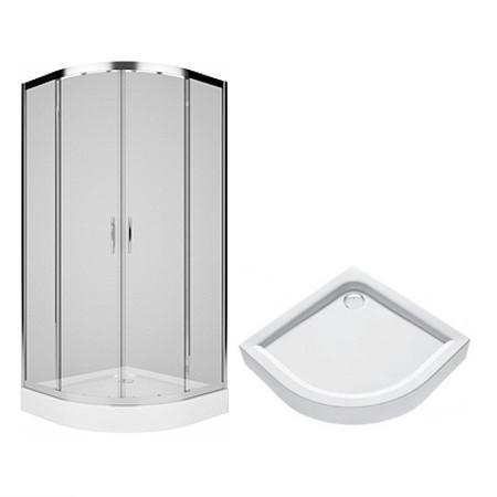 REKORD душевая кабина 90см, полукруглая, прозрачное стекло,+FIRST поддон 90*90см, с интегр. панелью