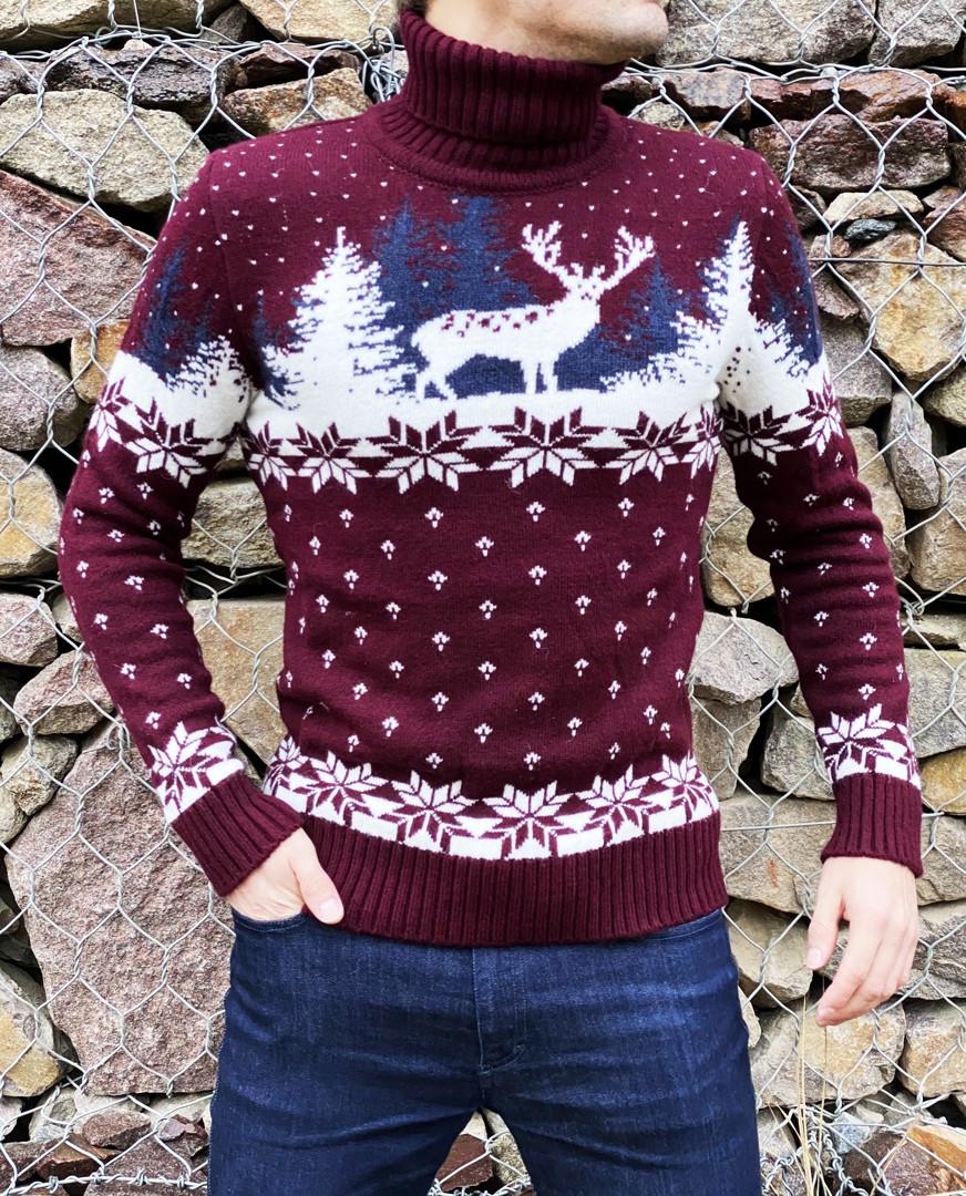 Чоловічий светр з оленями бордовий