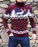 Чоловічий светр з оленями бордовий, фото 1