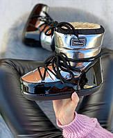Сапоги луноходы женские зимние 6 пар в ящике серебристого цвета 36-41, фото 2