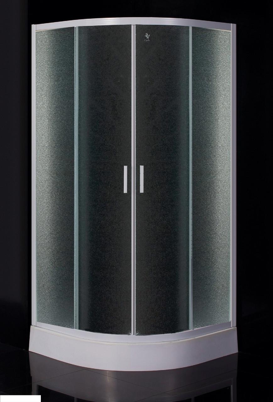 "TISZA душевая кабина 80*80*185 см (стекла+двери), профиль белый, стекло ""Zuzmara"""