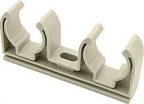 Крепление  для полипропиленовых труб D 25-27 двойное KALDE (серое)