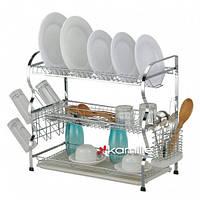 Сушилка для посуды трехъярусная 68*48*26см с поддоном Kamille 0912
