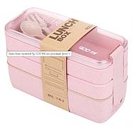Ланч-бокс тройной Lunch Box 900 мл, розовый (KG-507), фото 2
