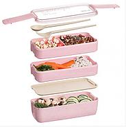 Ланч-бокс тройной Lunch Box 900 мл, розовый (KG-507), фото 4