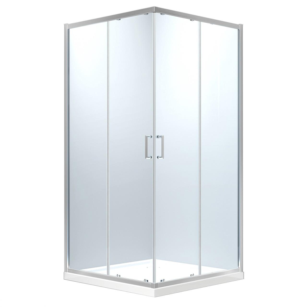 HÉVÍZ Душевая кабина квадратная 900*900*1950мм(стекла+двери), стекло прозрачное  6 мм, профиль хром