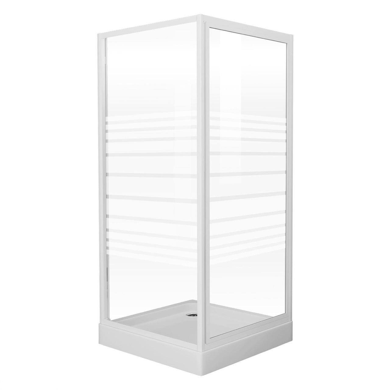 """FRIDA душова кабіна 90*90*185 см, профіль білий, скло """"Frizek"""" (скла+двері)"""