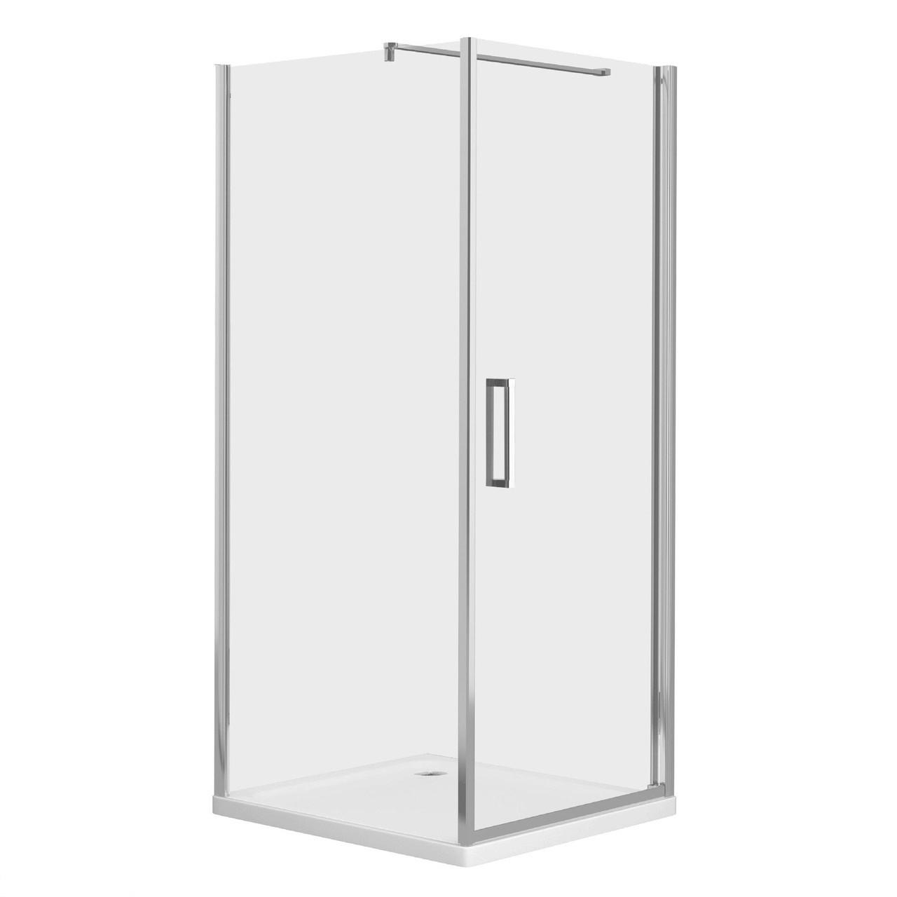 RUDAS душова кабіна квадратна 90*90*205 см, піддон (PUF) 5 см (з сифоном), орні, скло прозоре, права