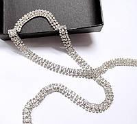 Стразовая цепь тройная кристалл прозрачная (цена за 10см), фото 1