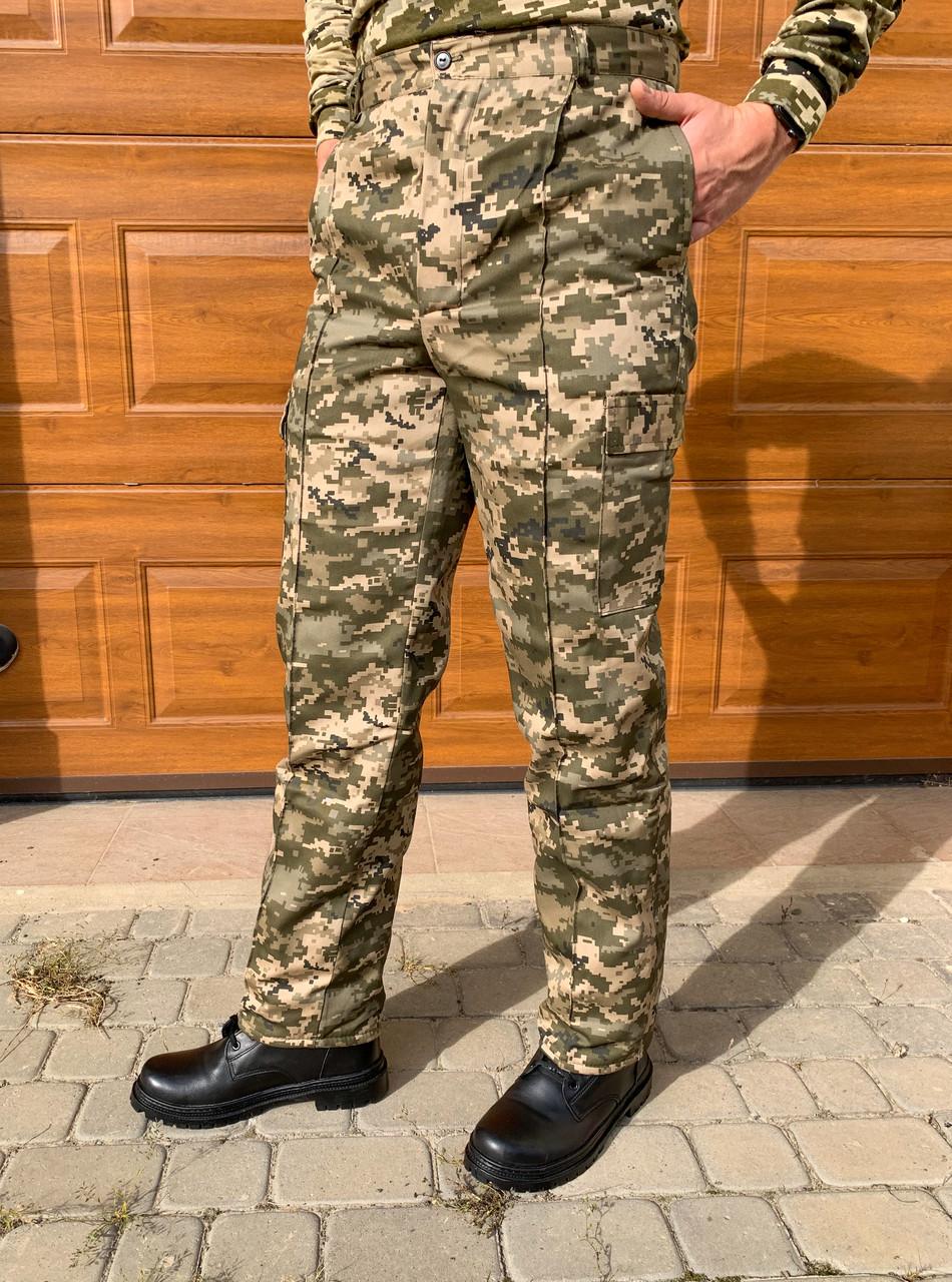 Камуфляжные утеплённые брюки Пиксель (флис) ЗСУ мм-14