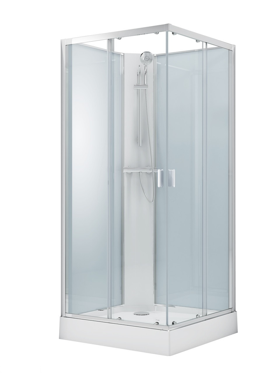 SOLAR душевой бокс квадратный без крыши 90*90*205см в комплекте с мелким поддоном,профиль хром, стекло прозрачное 6мм