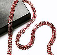 Стразовая цепь тройная красная siam (цена за 10см), фото 1