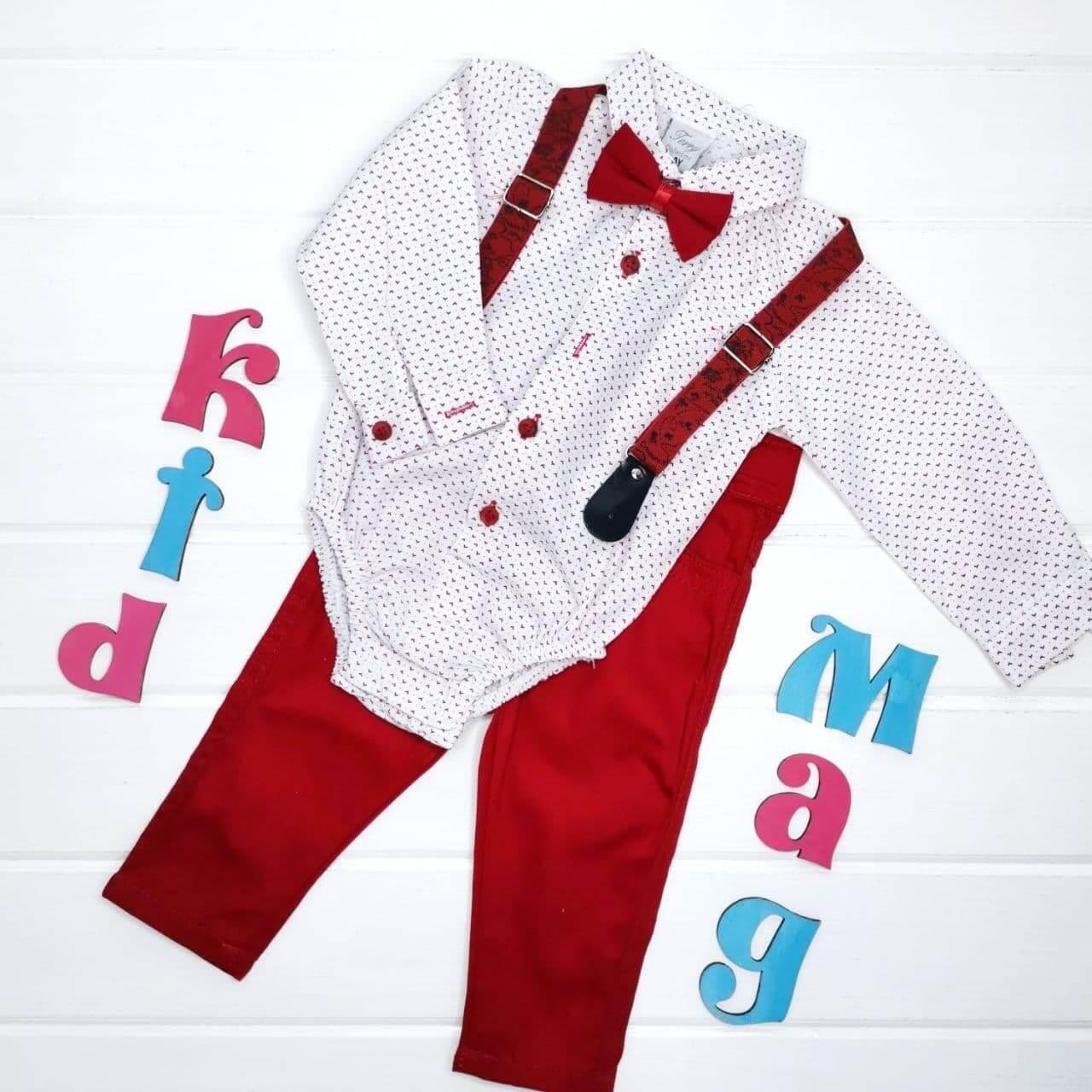 """Нарядная рубашка-бодик с брюками для мальчика """"Стильный красавчик"""" 3м"""