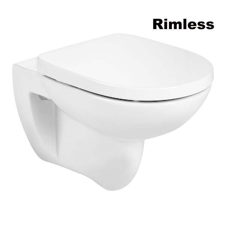 DEBBA Round Rimless чаша підвісного унітазу і кришка з сидінням SUPRALIT, з анти-бактеріальної структурою, з