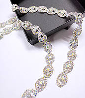Стразовая цепь фигурная кристалл АВ хамелеоны (цена за 10см), фото 1