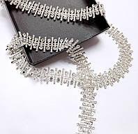 Стразовая цепь фигурная кристалл прозрачная (цена за 10см), фото 1