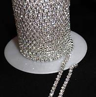 Стразовая цепь кристалл прозрачная ss6 (цена за 1м), фото 1