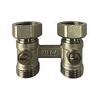 Нижнее подключение радиатора прямое никель 3/4x50 Viega (359102)