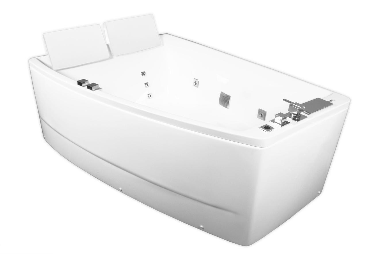 Ванна асиметрична з гідро та аеро масажем 1700*1200*630мм, ліва, акрилова