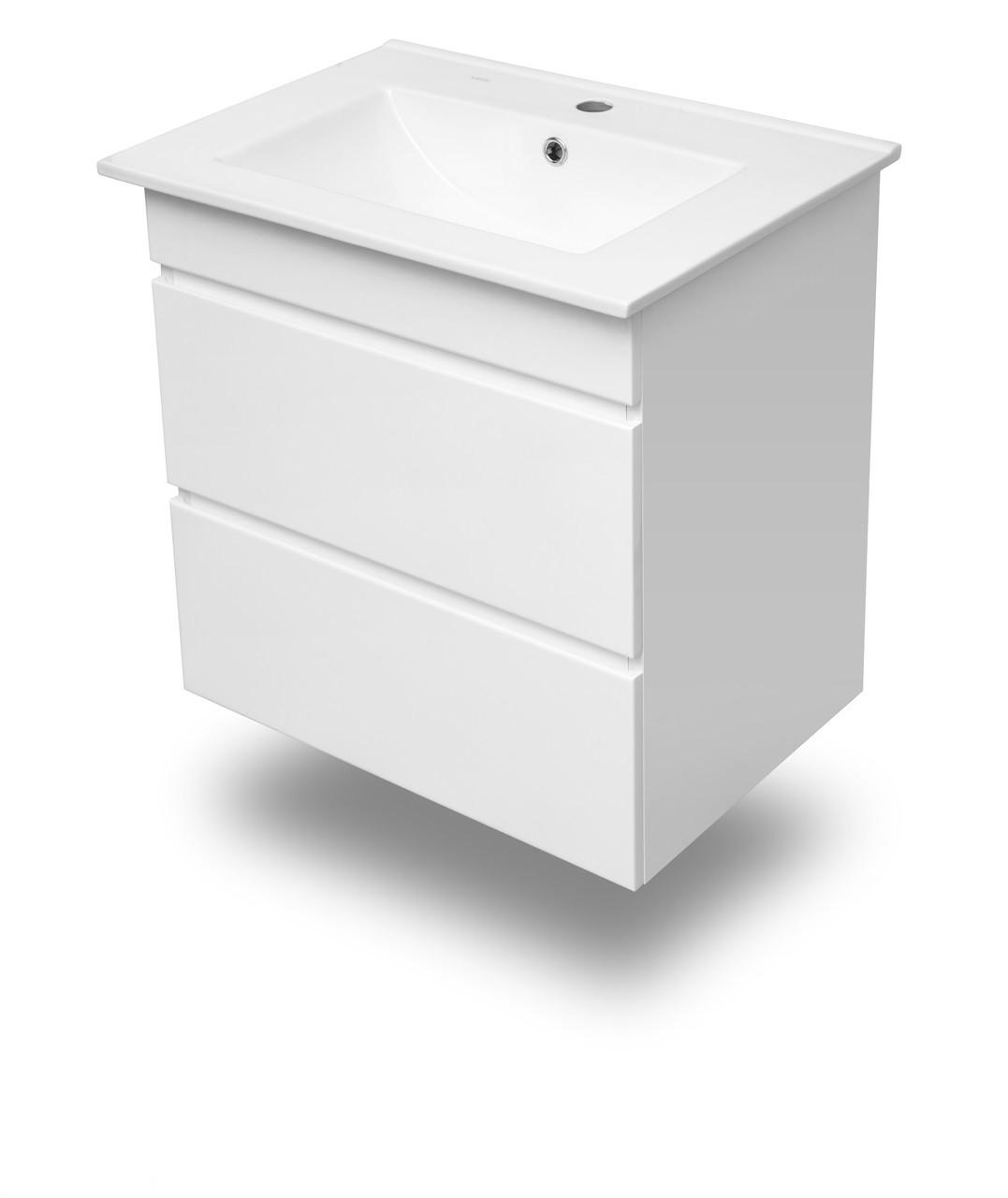 FIESTA комплект меблів 600: тумба підвісна біла (2 ящика)+умивальник накладний