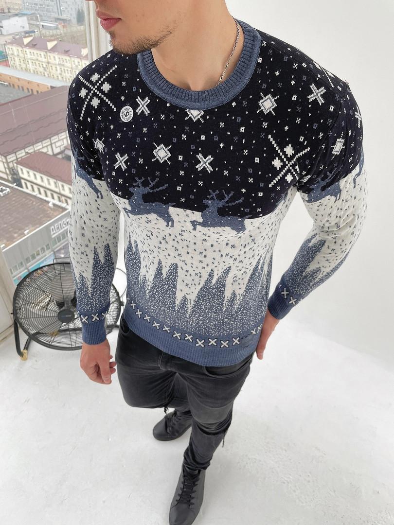 Мужской свитер с оленями теплый